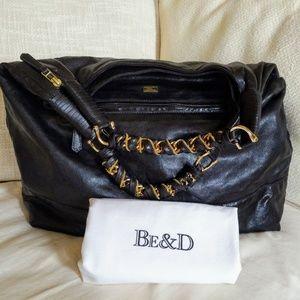 BE&D Women's Starburst Leather Hobo, Black